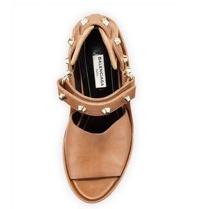 NEW Balenciaga studded leather wedge sandal camel